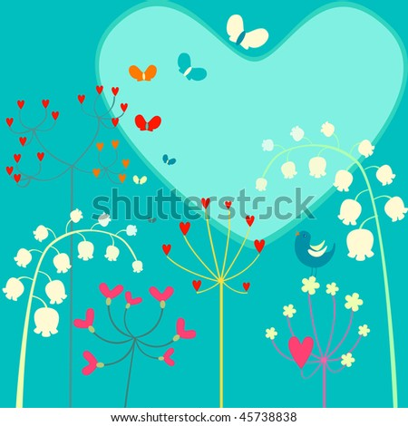 Floral background with  heart.Vector illustration
