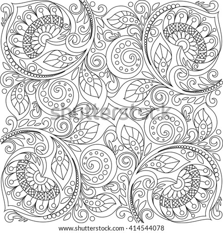 Floral background with hearts. Floral decorative pattern. Adult antistress coloring page. Black and white hand drawn doodle for coloring book