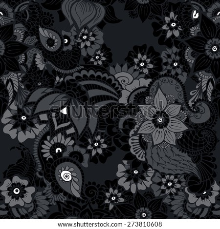Floral background with indian ornament in black colors. Seamless pattern for your design wallpapers, pattern fills, web page backgrounds, surface textures. Abstract night, stars.