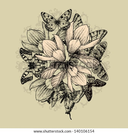 Floral background with magnolia flowers and butterflies. Vector illustration. - stock vector