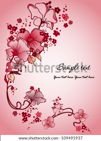 Floral background with red and pink flowers