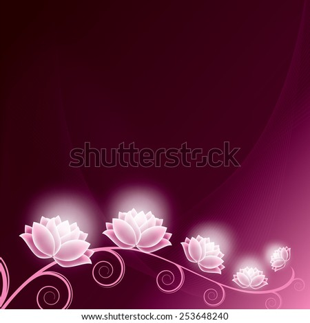 Floral Background with Shiny Flowers. - stock vector