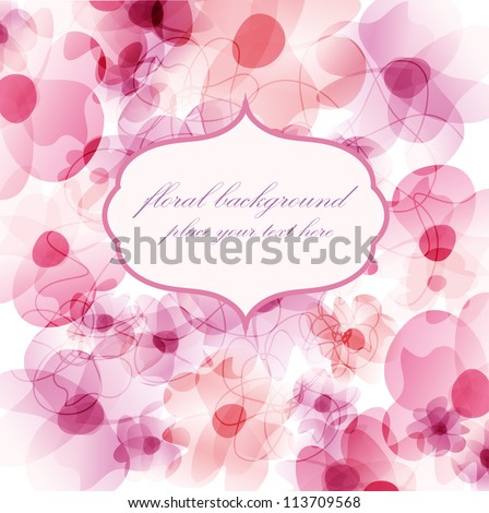 Floral background with watercolor pink flowers and frame for your text - stock vector