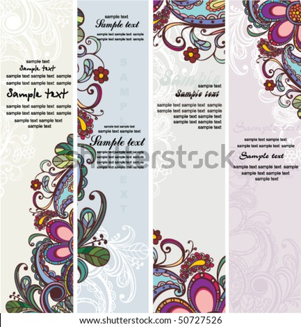 floral banners - stock vector