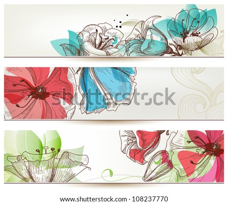 Floral banners vector - stock vector