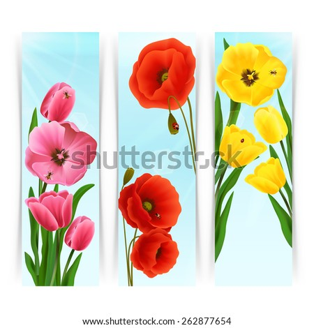 Floral banners vertical set with pink and yellow tulips and red poppy isolated vector illustration - stock vector