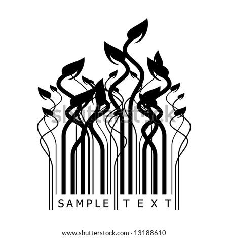 floral barcode - stock vector