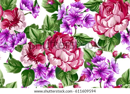 Floral baroque pattern with bouquet of flowers,Classic big red rose,Chrysanthemum,daisy ,peony flowers on white background