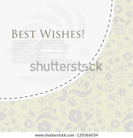 Floral best wishes greeting card. (Vector Eps10) - stock vector