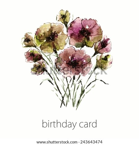 Floral birthday card. Watercolor floral bouquet.