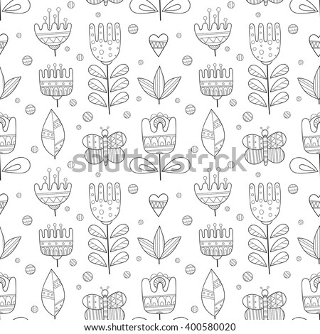 Floral black and white hand drawn seamless pattern. Doodle flowers, leaves, butterfly vector background. - stock vector