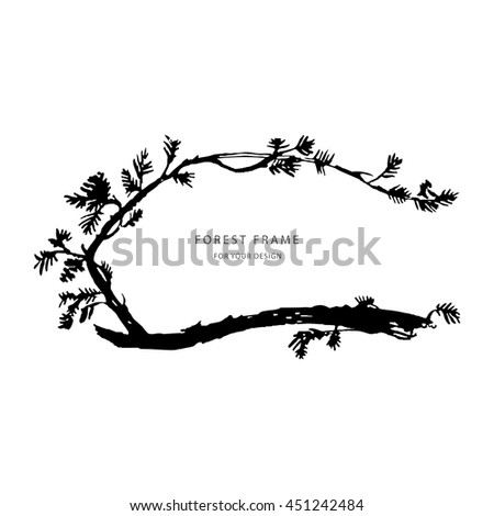Floral black/white greeting card background with branch, plants. Nature frame. Trendy design template for wedding,congratulations, events, invitations for all holidays. Vector illustration.