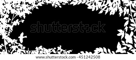 Floral black white greeting card background with trees, plants, birds. Nature frame. Trendy design template for wedding,congratulations, events, invitations for all holidays. Vector illustration.
