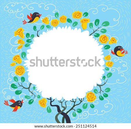 Floral blossoming spring tree with birds. Spring time card - stock vector