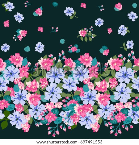 Floral Border In Country Style Bouquet Rustic Chic Flower Background For Textile Wallpaper
