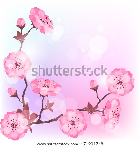 Floral border or background with pink cherry blossom. - stock vector