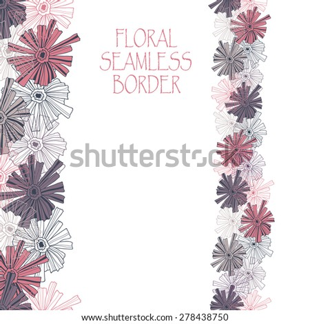 Floral border pattern of the contoured flowers. - stock vector