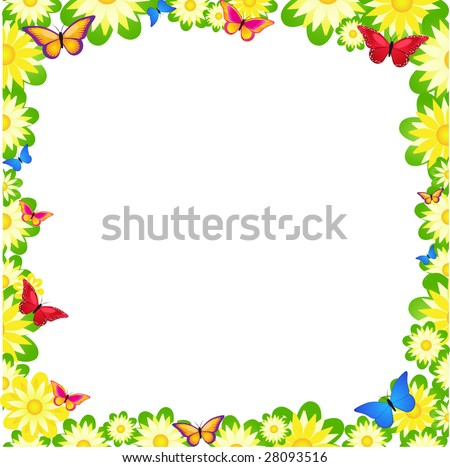 Floral border spring flowers colorful butterflies stok vektr floral border with spring flowers and colorful butterflies mightylinksfo