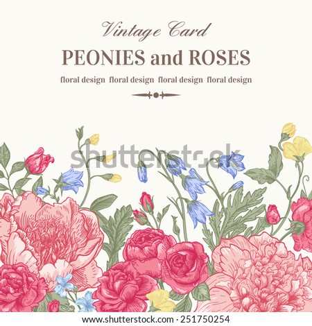 Floral border with summer flowers on a white background. Peonies, roses, bells. Vintage vector illustration. - stock vector