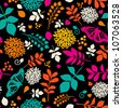 Floral bright seamless pattern with flowers, leaves and butterfly - stock vector
