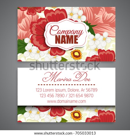 Floral business card template vector stock vector 2018 705033013 floral business card template vector cheaphphosting Image collections