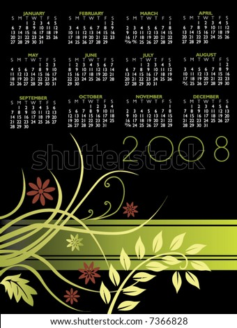Floral Calendar for 2008. With Space reserved for logo.