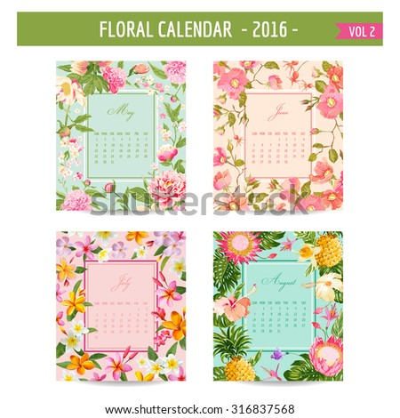 Floral Calendar - 2016 - with Vintage Flowers - in vector - vol.2 - stock vector
