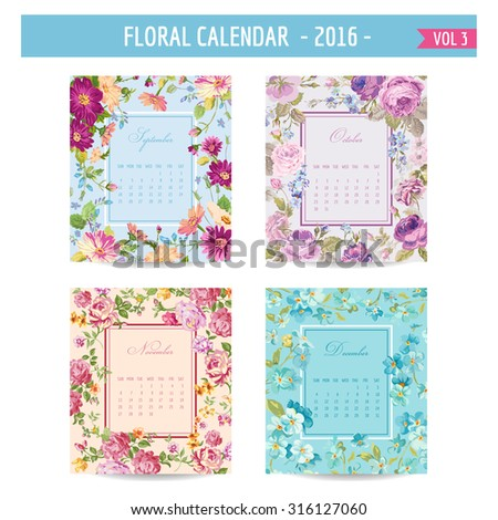 Floral Calendar - 2016 - with Vintage Flowers - in vector : volume 3 - stock vector