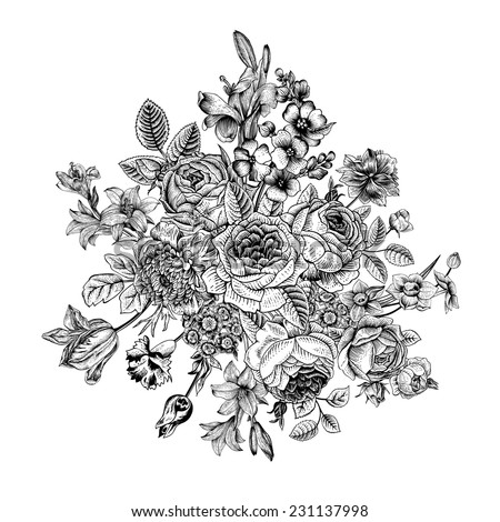 Floral card. Bouquet of roses, lily and anemone. Vintage vector illustration. Classic. Black and white.  - stock vector