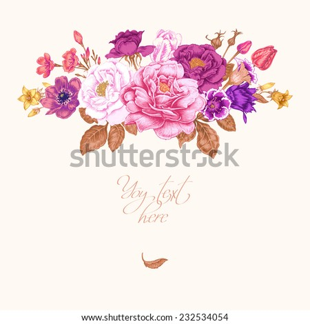 Floral card. Bouquet of roses, peonies, anemones, tulips, bells. Invitation. Vector. Retro. Vintage style. - stock vector