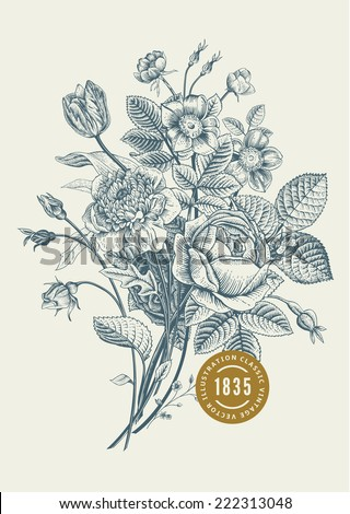 Floral card. Bouquet of roses, tulip, dog-rose and anemone. Vintage vector illustration. Classic. - stock vector