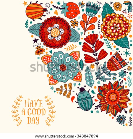 Floral card design, flowers and leaf doodle elements. Illustration made of flowers and herbs. Vector decorative invitation. Spring elements. Floral doodles.