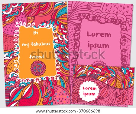 Floral card design, flowers and leaf doodle elements. Illustration made of flowers and herbs. Vector decorative invitation.  Invitation Template: holiday cards set. postcards and envelope . doodles. - stock vector