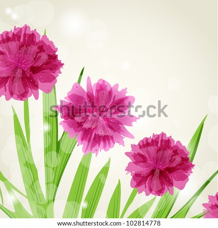 Floral card with abstract peony flowers