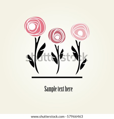 Floral card with abstract roses - stock vector