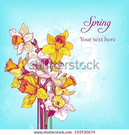 floral card with bouquet, flowers composition, hand drawn vector illustration - stock vector
