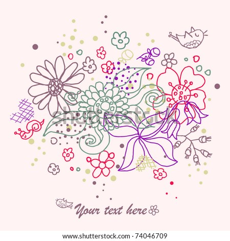 Floral card with flowers and little snail - stock vector
