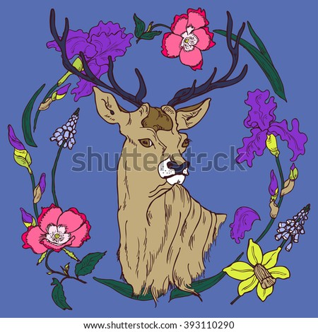 Floral card with hand drawn deer in circlet of flowers in vector - stock vector