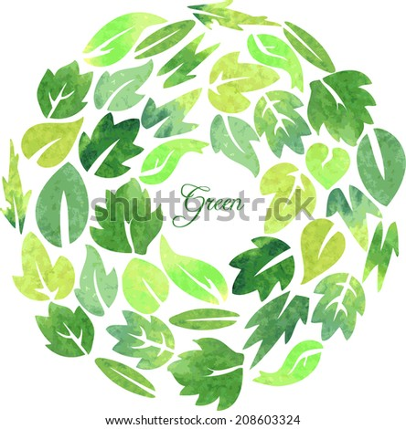 floral card with leaves painted by watercolor, wreath of plants, vector illustration