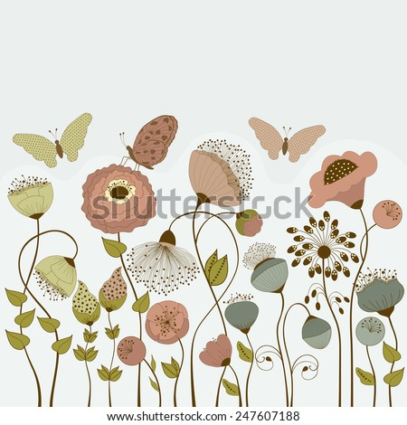 Floral card with stylized flowers and butterflies and place for text - stock vector