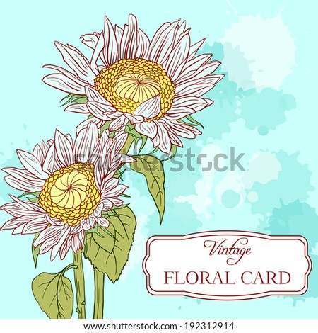 floral card with sunflowers, flowers composition, hand drawn vector illustration - stock vector