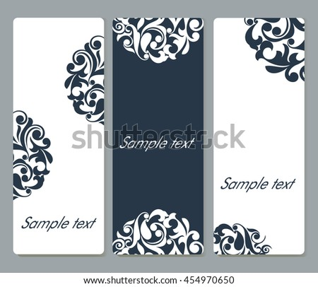 Floral cards with rounded corners vector template set with copy space. - stock vector