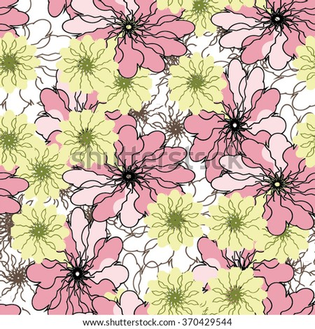 Floral childish seamless vector background. - stock vector