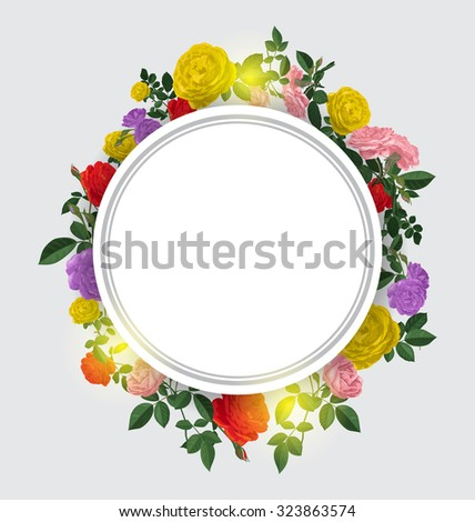 floral circle frame. Nature vector background with rose  - stock vector