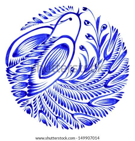 floral circle, hand drawn, illustration in Ukrainian folk style - stock vector