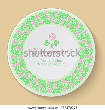Floral circular pattern. Decorative plate template with clover. Vector illustration. - stock vector