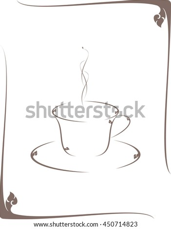 floral coffee cup frame vector / Based on southeast Asia design