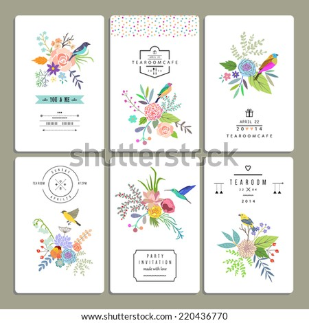 Floral collection of romantic invitations. Wedding, marriage, bridal, birthday, Valentine's day. Isolated. Vector - stock vector