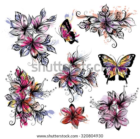 Floral collection of vector flowers with watercolor colorful spots. Watercolor style paintings - stock vector