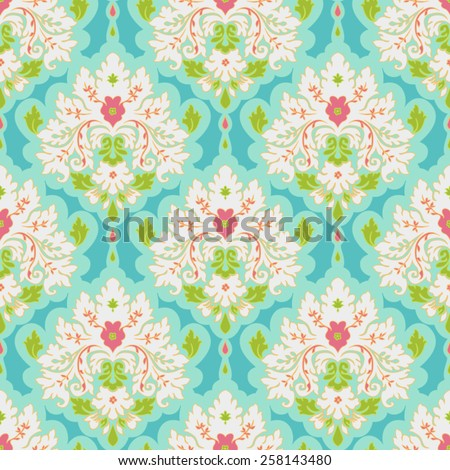 Floral colorful damask seamless pattern. Classic background - stock vector